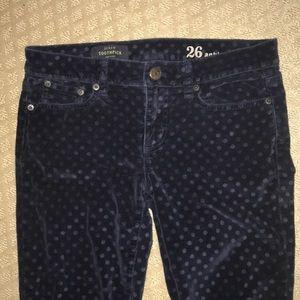 J crew toothpick velvet polka dot ankle pants 26